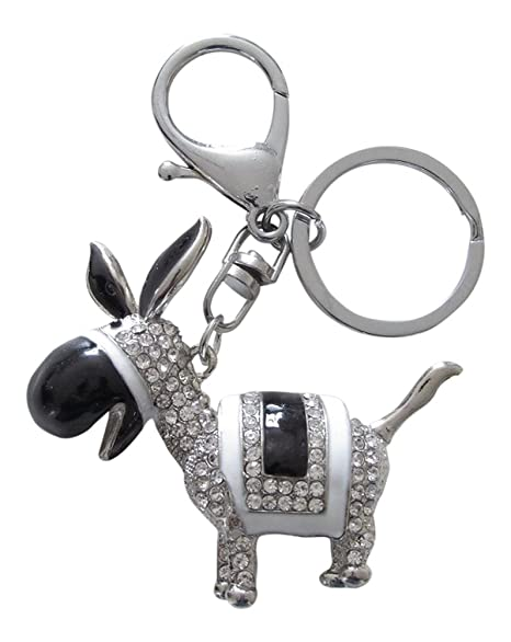 Llavero, joyas de bolsa, diseño de burro o mulo plateado con ...