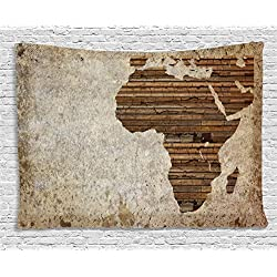 Ambesonne African Decor Tapestry by, Geography Theme Grunge Vintage Wooden Plank Africa Map Digital Print, Wall Hanging for Bedroom Living Room Dorm, 80 W X 60 L Inches, Tan Umber and Brown