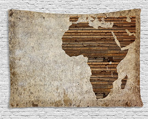 African Wall Tapestry - Ambesonne African Decor Tapestry, Geography Theme Grunge Vintage Wooden Plank Africa Map Digital Print, Wall Hanging for Bedroom Living Room Dorm, 60 W X 40 L Inches, Tan Umber and Brown