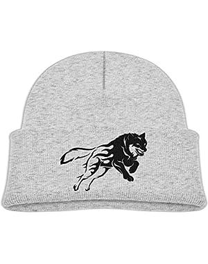 Kids Cool Wolf Silhouette Tribal Tattoo Beast Casual Flexible Winter Knit Hats/Ski Cap/Beanie/Skully Hat Cap