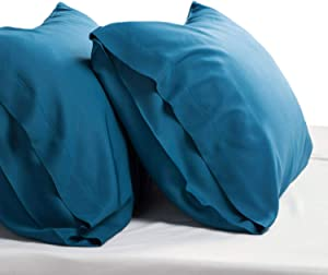 Bedsure Cooling Bamboo Pillowcases Set of 2 - Teal Breathable Cool Ultra Soft Pillow Cases - Viscose from Bamboo - Organic Natural Silky Material, Moisture Wicking(Teal, Queen Size 20x30 inches)