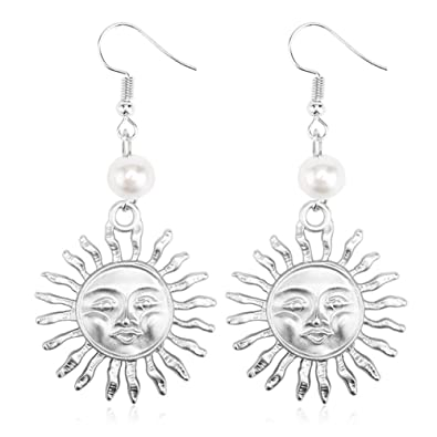 Sterling Silver & Gold Plated 14k Emoji Smile Face Big Sun Charm With Pearl  Women Dangle Earrings