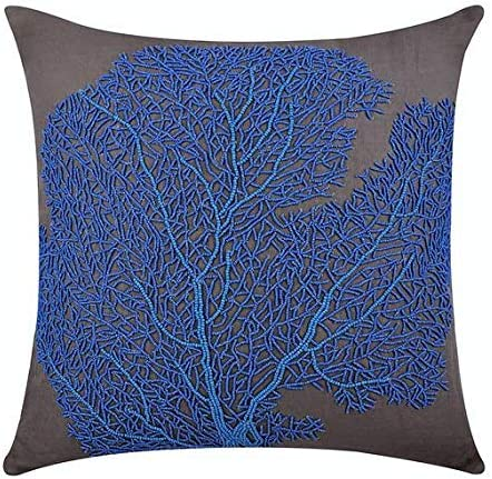 The HomeCentric Decorative Blue Euro Pillowcases 26×26 inch 65×65 cm , Linen Euro Size Pillow Covers, Sea Creatures, Coral, Sea Weeds, Beaded, Beach Style European Sham Covers – Royal Blue Sea Weeds
