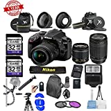 Nikon D3400 24.2 MP DSLR Camera w/18-55mm VR Lens Kit|70-300mm Lens|2 X 32GB MCs|DSLRBag| Wide Angle&Telephoto| Flash| Remote| Tripod| Bundle