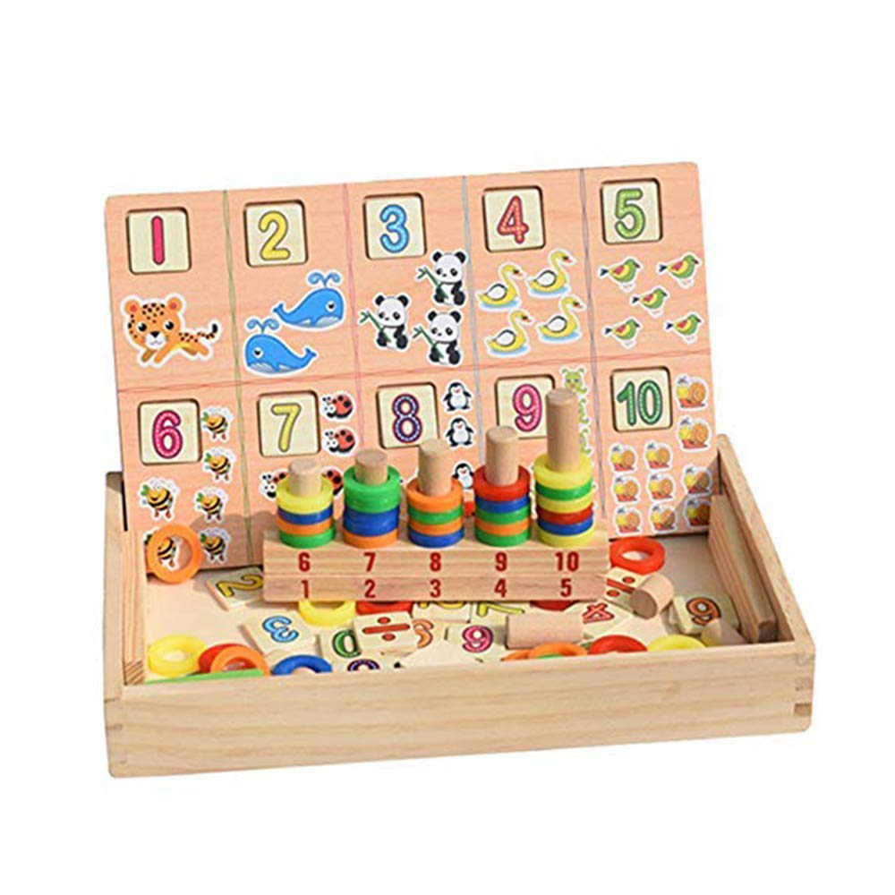 Wooden Toys, YiMiky Early Learning Toys for Children Christmas Gifts for Kids Cube Educational Digital Mathematical Wood Box Calculation for Kids Toy Numbers Cartoon Cards