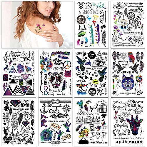 Temporary Tattoos Stickers(10Sheets 237Designs),Konsait Realistic Fake Tribal Body Temporary Tattoos Supplies Temporary Rose Eye Tattoos for Dream Party for Kids Adult Women Men Boys Girls]()