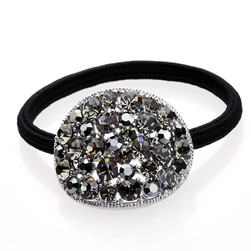 DoubleAccent Hair Jewelry Simulated Crystal Round Hair Ponytail Holder, Black by Double Accent Hair Jewelry