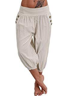 e1690981827 Women s Plus Size Harem Pants Aladdin Linen Loose Harlan Pants with Elastic  Waist