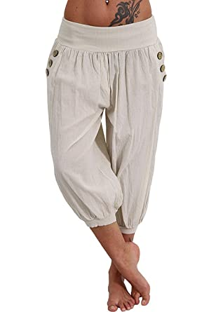 f36c13710a6 Women s Plus Size Harem Pants Aladdin Linen Loose Harlan Pants with Elastic  Waist (Begin