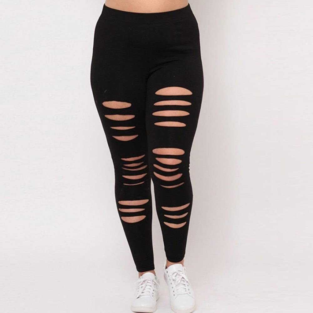 Ripped Capris, OOEOO Plus Size Womens Sexy Leggings Trousers Yoga Sport Hole Pants