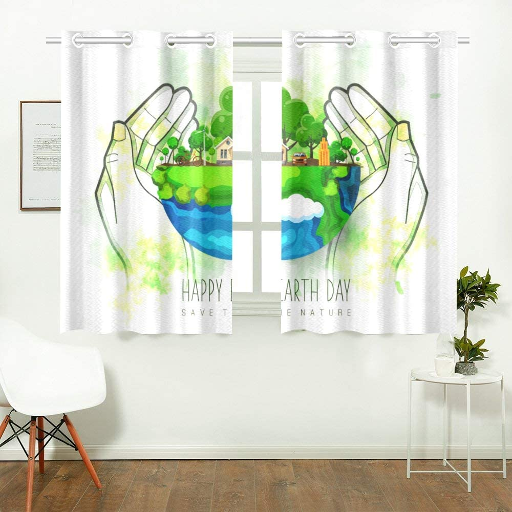 Amazon Com Wiedlkl Childrens Bedroom Curtains Earth Day Eco Friendly Concept Home Curtains Bedroom Girls Bedroom Curtains For Cafe Bath Laundry Living Room 26x39inch 2pieces Home Kitchen