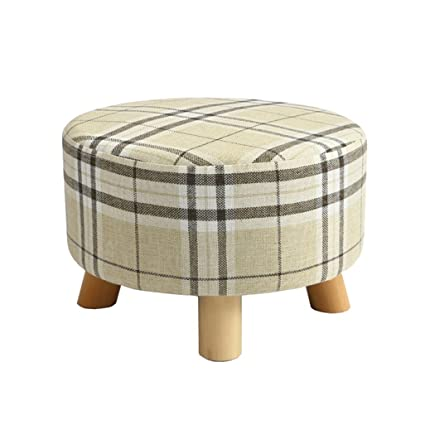 Surprising Amazon Com Foot Stool Upholstered Footrest Round Wooden Pdpeps Interior Chair Design Pdpepsorg