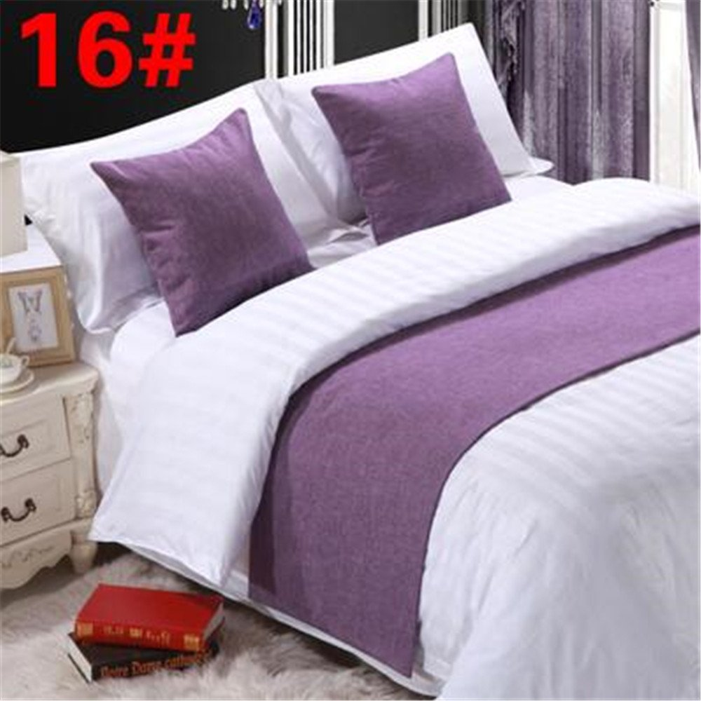 Bed Runner Purple 3 Pcs Set, Luxury Bedding Scarf Pad Decorative Table Runner Bed Protector Slip Cover for Pets, 1 Bed Runner + 2 Cushion Cover, 102 Inches By 19 Inches