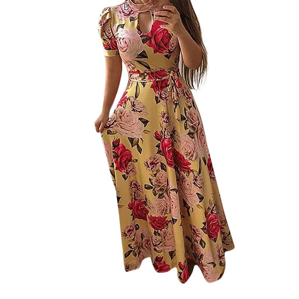IEasⓄn Women Dress,Summer Women Long Tunic Sundress Floral Print Holiday Party Floor-Length Dress Yellow