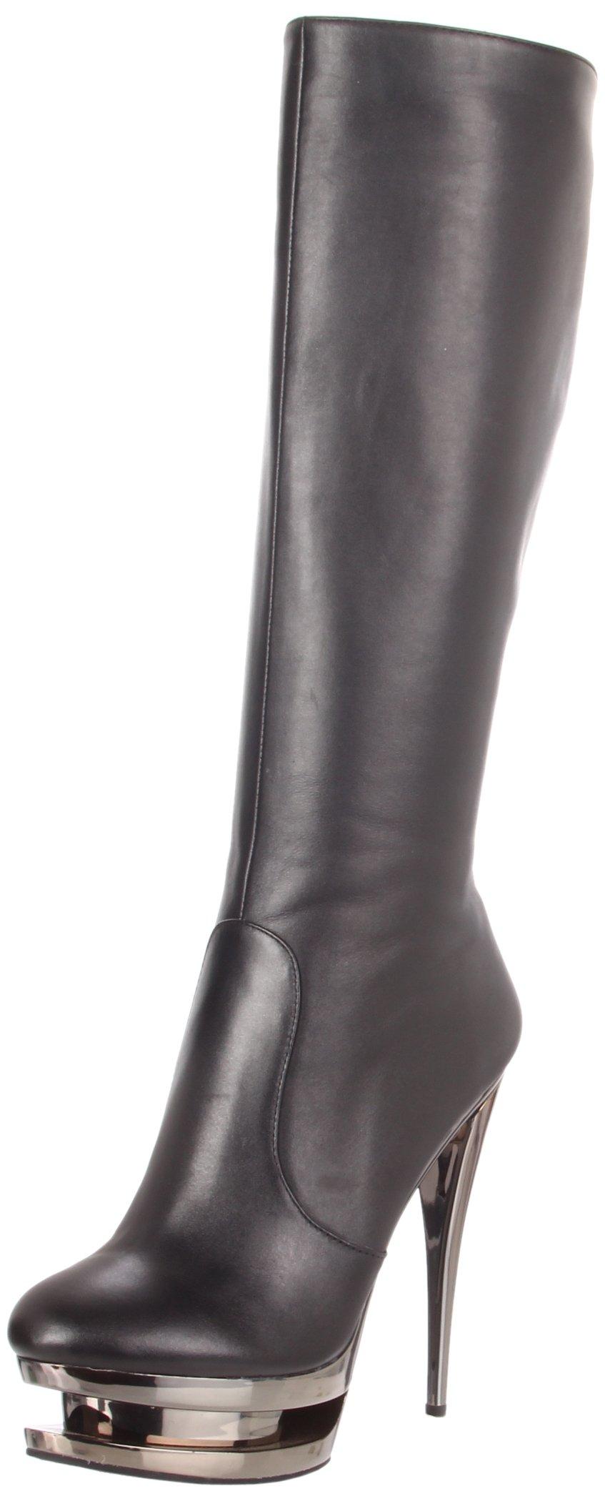 Pleaser Women's Fascinate-2010/BLE/PCH Platform Sandal,Black Leather/Pewter Chrome,5 M US