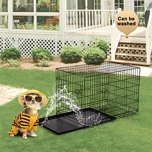 BestPet 42'' Pet Folding Dog Cat Crate Cage Kennel w/ABS Tray LC by BestPet (Image #3)