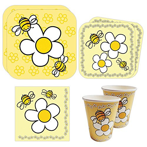 Bee Party Standard Party Packs (65+ Pieces for 16 Guests!), Bee Birthday Party, Bee Baby Shower Supplies