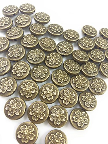 Beads Metal Ivory - QTMY 50 PCS 2mm Hole Flower Spacer Beads for Jewelry Making Supplies in Bulk