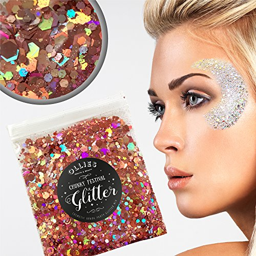 10g Chunky Festival Cosmetic Glitter With Holographic And Iridescent Mixed Loose Flakes For Face Skin Body Hair Lips Nails Decoration Multi Colour Funky Mixes (Pink)