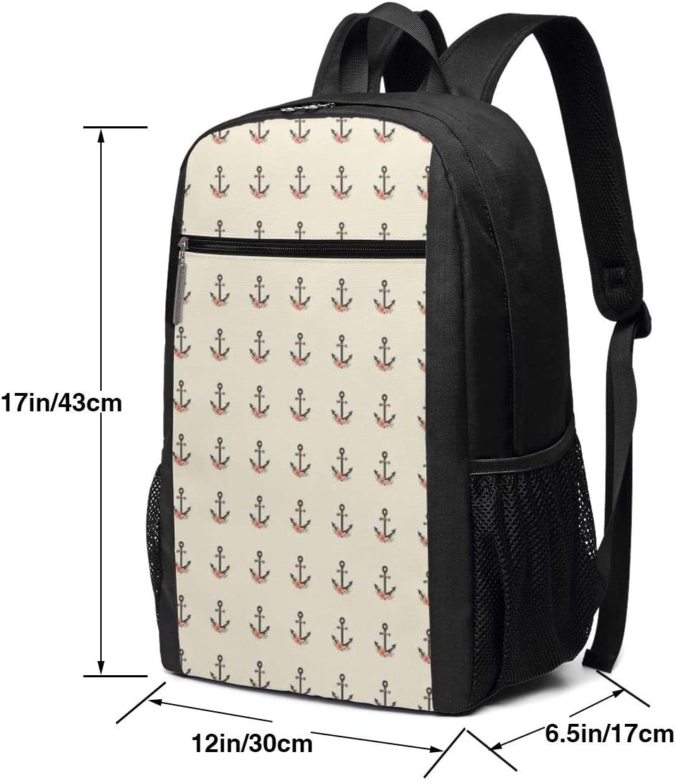 17 Inch School Laptop Backpack,Nautical Pattern with Flowers On Ivory Background Romantic Roses,Casual Daypack for Business//College//Women//Men