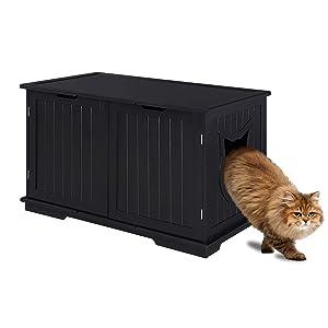 Sweet Barks Designer Cat Washroom Storage Bench Cat Litter Box Enclosure Furniture Box House with Table