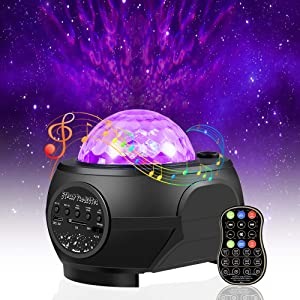 Star Night Light Projector.Vercarnon Remote Control Ocean Wave LED Star Light galaxy Projector with Bluetooth Music Speaker for Kids Bedroom Decoration Party Home Holidays Ambiance