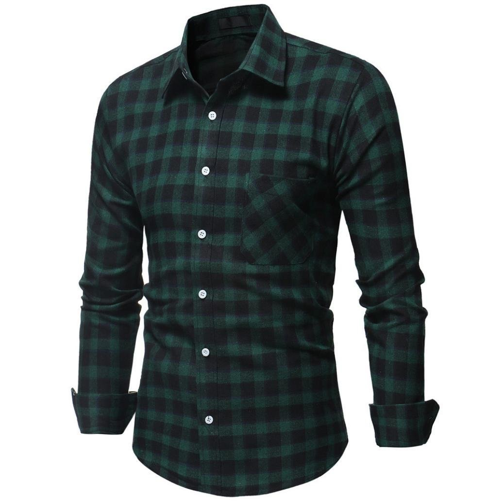 Pocciol Slim Long Sleeve T Shirt, Fashion Men's Casual Personality Top Blouse Plain Polo Shirt (Green, XL)