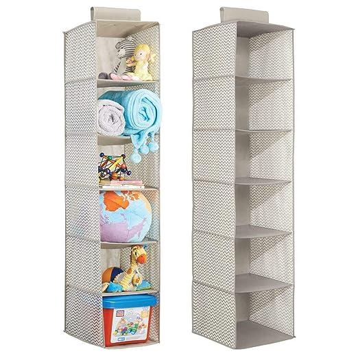 mDesign estanteria colgante gris oscuro/natural para organizar la ropa de bebe - Organizador de ropa para colgar en su armario - Con 6 compartimentos ...