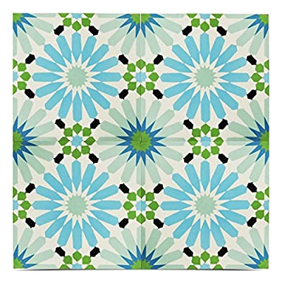 Moroccan Mosaic & Tile House CTP54-04 Alhambra 8''x8'' Handmade Cement Tile in Multicolor(Pack of 12), WhiteBlackBlue