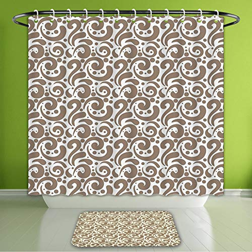 Waterproof Shower Curtain and Bath Rug Set Art Swirled Curved Bold Lines Brushstrokes Big and Little Polka Dots Circular Abstract Cocoa Wh Bath Curtain and Doormat Suit for Bathroom 72