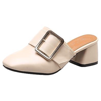 AIYOUMEI Sommer Pantoletten mit Schnalle Mules High Heels Hausschuhe Damen Geschlossene Sandalen Slipper