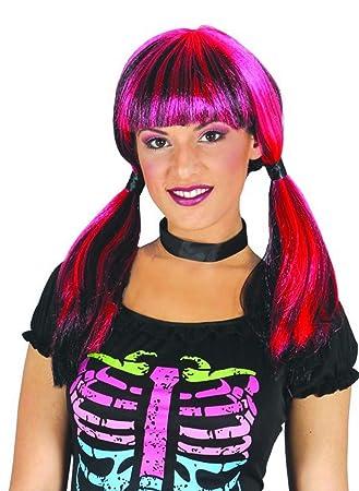 Peluca Fucsia y Negra con coletas para Halloween