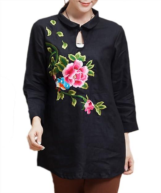 Algodón Puro Blusa Camisa Mujer Moda China 100% Arte Bordado a Mano #113