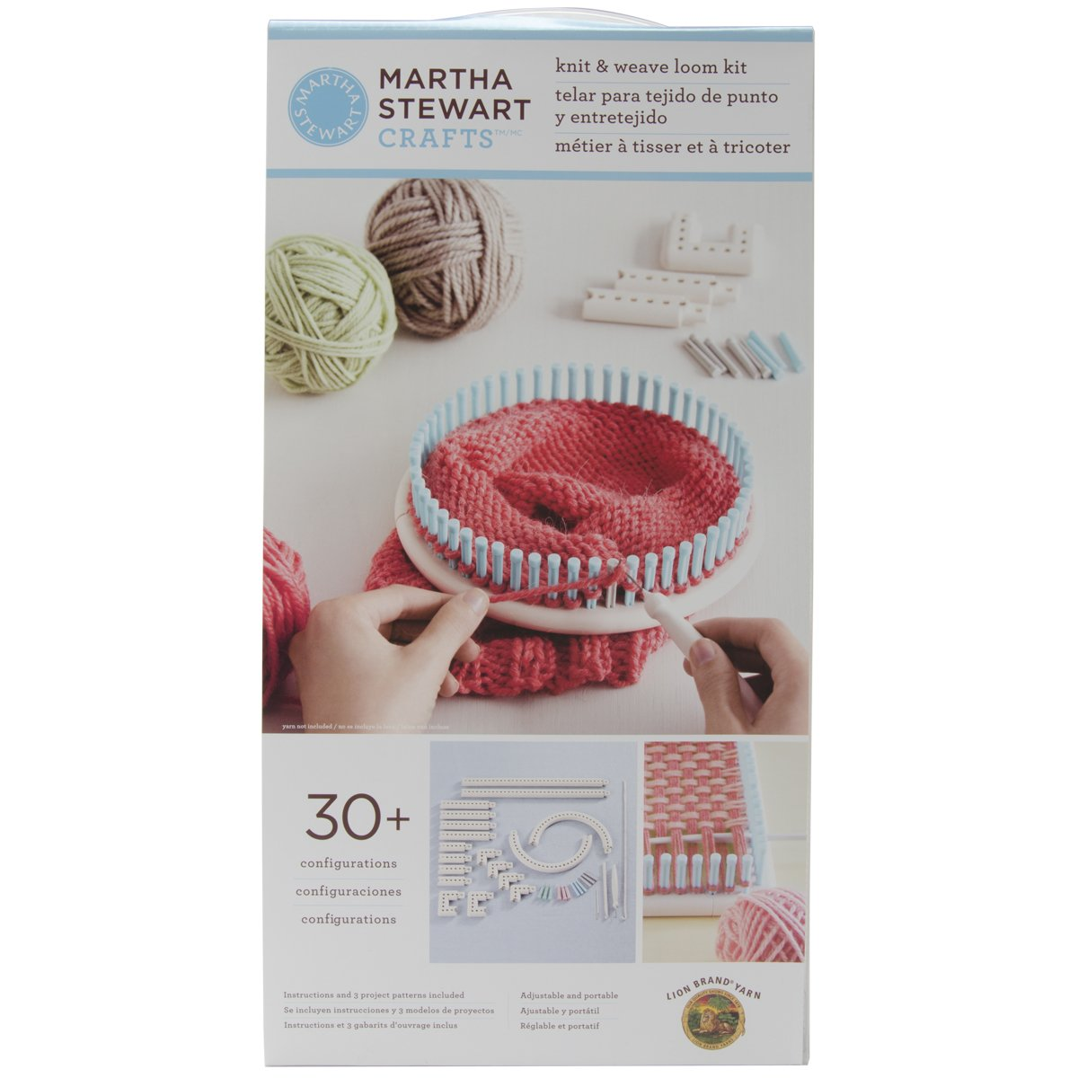 Lion Brand Yarn Martha Stewart Crafts Knit and Weave Loom Kit 5000-100