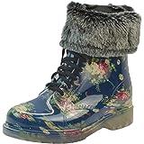 LvRao Damen Wasserdichte Schnee Regen Absatz Schuhe Garten Stiefel Knöchel Boots Kurze Regenstiefel mit Schnürsenkel Schwarz Rot Europäische Größe 37
