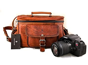 NICK   NICHE Premium Handmade crafted Vintage Style Genuine Leather Camera  DSLR Padded Digital Camera Bag d2f28a32dfccb