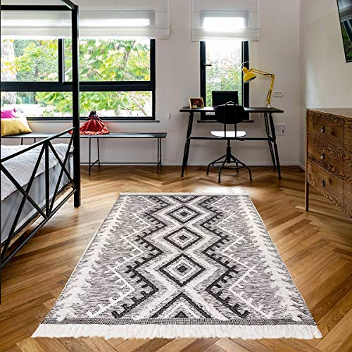 We Rugs Beautiful Area Rugs for Living Room Decor, Modern Geometric Handmade Area Rug,Black 4 x 6