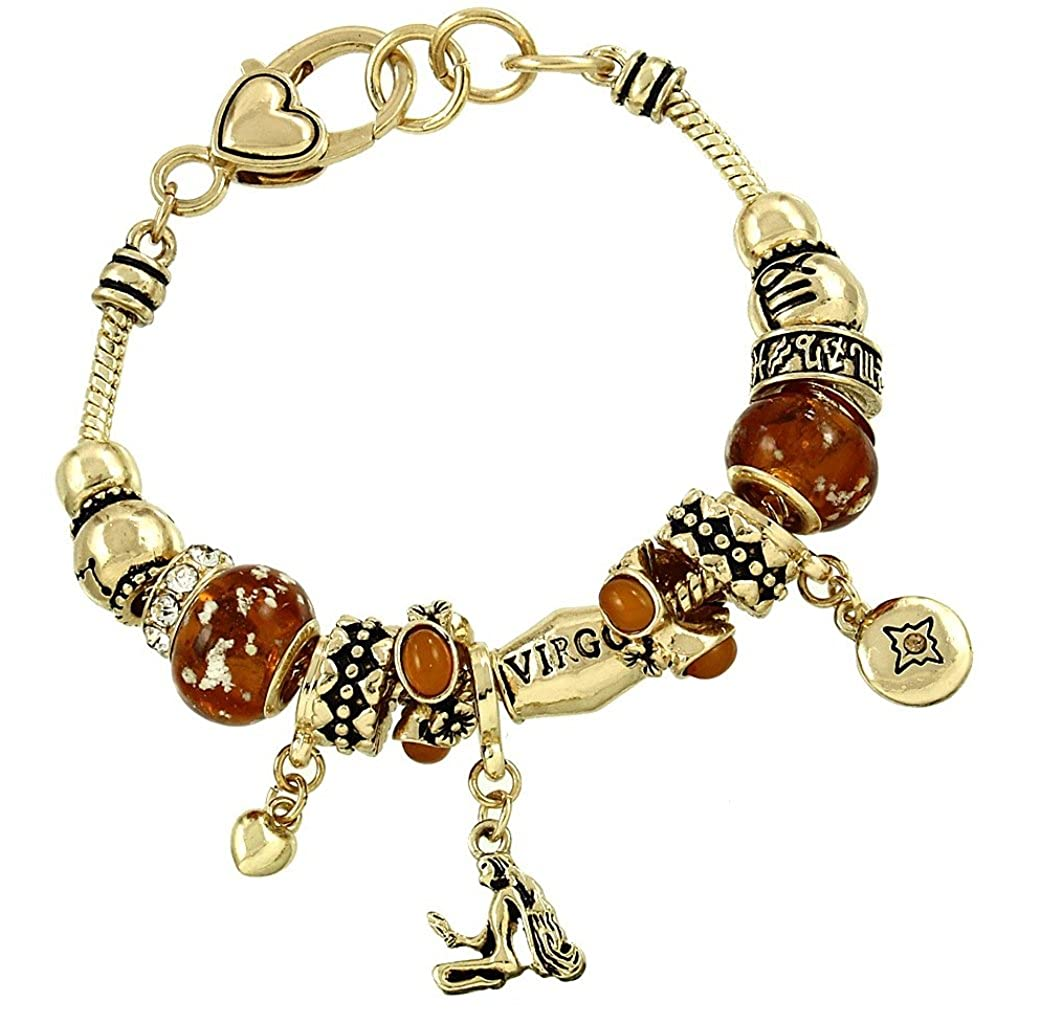DianaL Boutique Zodiac Sign Virgo Horoscope Charm Bracelet Gold Tone