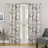 ECLIPSE Blackout Curtains for Bedroom - Paige 37' x 63' Insulated Darkening Single Panel Rod Pocket Window Treatment Living Room, Birch