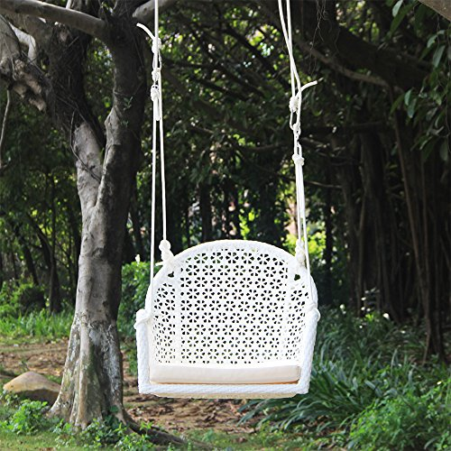 Wicker Porch Swing Chair for Children or Adult, Hanging Rope Chair Swing Seat, Indoor and Outdoor Playground Swing Set Accessories, UV Resistant (White)