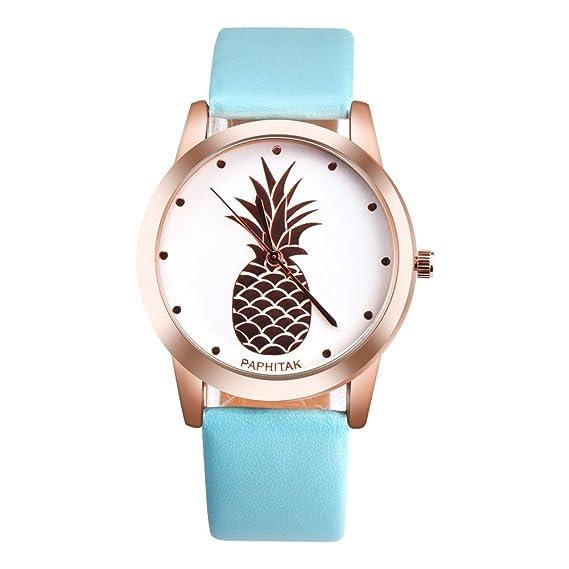 JiaMeng Reloj de Cuarzo Analógico Automático para Mujer con Correade imitación de piña para Hombre(