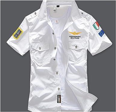 Camisas Militares de Manga Corta para Hombre, 6 XL, algodón Bordado AE12002 - Blanco - X-Large: Amazon.es: Ropa y accesorios
