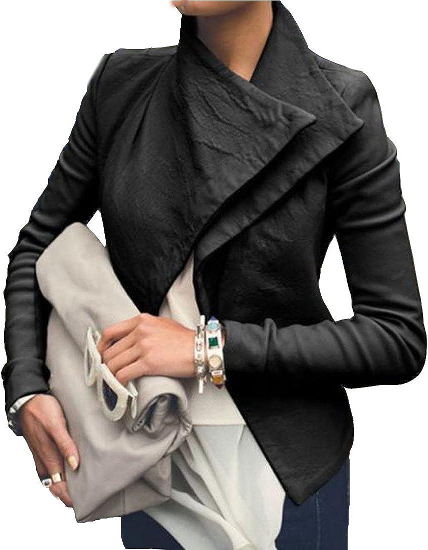 Sheng Xi Womens Moto Faux Leather Fashion Short Slim Fit Outwear