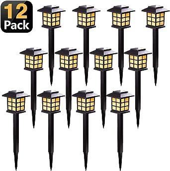 KANYEE 12 Pack Solar Retro Linterna Iluminación de Caminos Al Aire ...