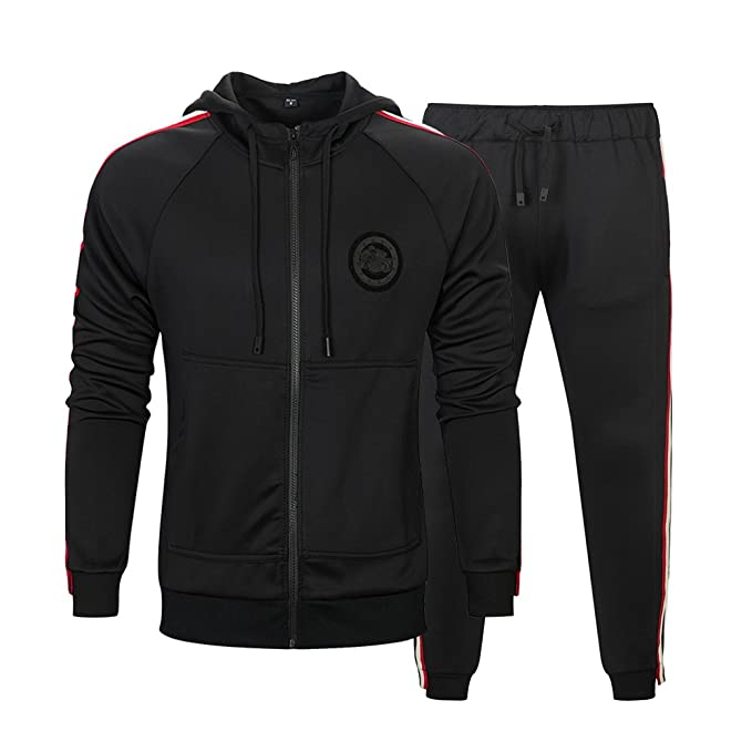 41b190f2b61d MANLUODANNI Mens Tracksuit Set Gym Bottoms Top Jogging Joggers Sports Suit  Zip Hoodie Jacket Pants  Amazon.co.uk  Clothing