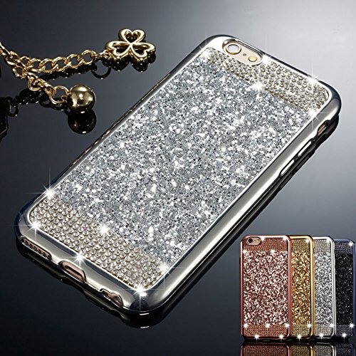 ZCDAYE Case for iPhone 5 5S SE,Bling Glitter [Crystal Rhinestone Diamond] Soft TPU Rubber Silicone [Electroplating Edge] Shockproof Protective Back Case for iPhone 5/5S/SE - Silver
