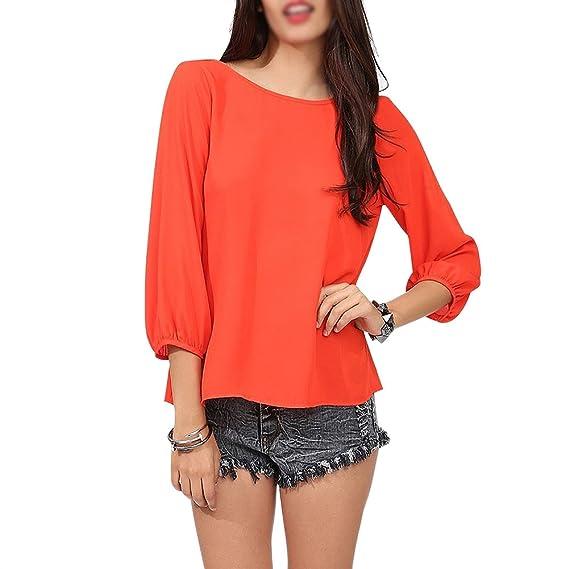 SODIAL(R) Nuevas Camisa De Moda De La Gasa Camisa De Verano Camisa Suelta