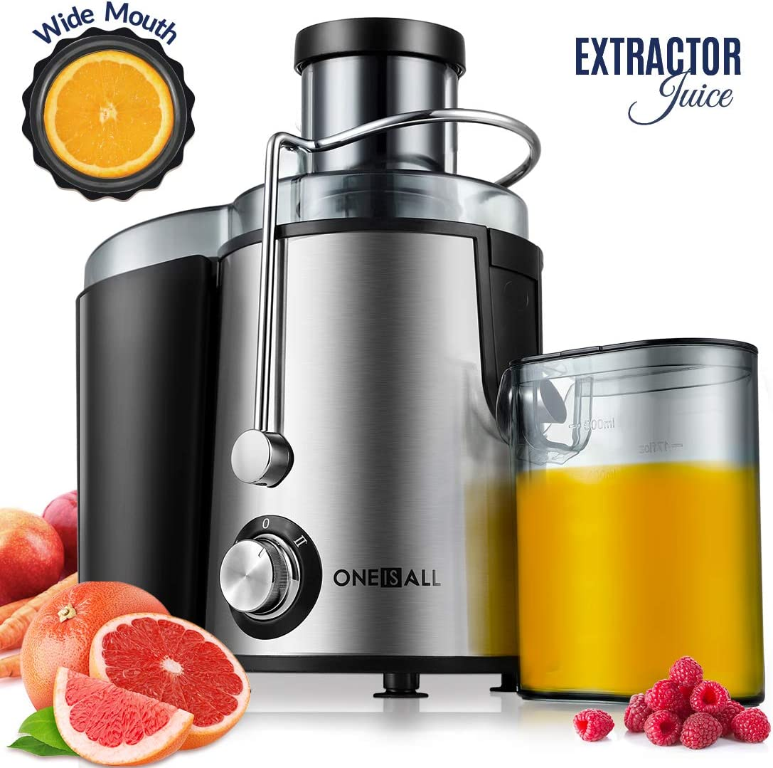 Juicer, Oneisall Juice Extractor with Anti-Drip Spout, Ultra Fast Extract Centrifugal Juicer for Fruits and Vegetables, Easy to Clean plus Quiet Motor Non-Slip Feet, Stainless Steel BPA Free