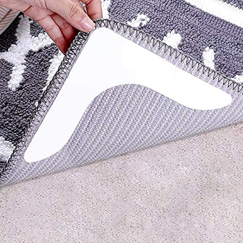 CMISMPRT Rug Grippers with Super Stickiness- Anti Curling Carpet Tape Non-Slip Area Keeps Your Rug in Place and Makes Corners Flat for Corners and Edges Renewable