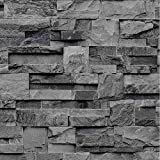 J274-09 - Large Slate Charcoal Natural Brick Stone Effect Wallpaper